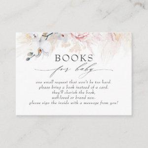 Tropical Pampas Grass Floral Baby Books Request Business Card