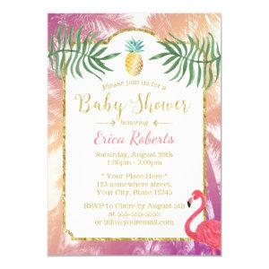 Tropical Pineapple & Palm Trees Baby Shower Invitation