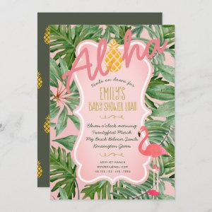 Tropical Pink BABY SHOWER Invite Luau FLAMINGO