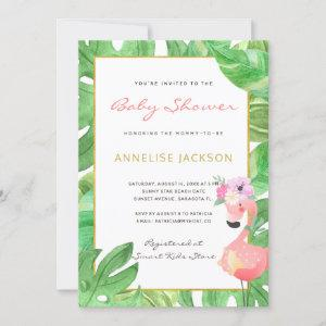 Tropical pink flamingo green leaves baby shower invitation
