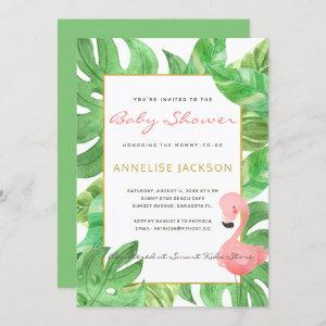 Tropical pink flamingo green leaves baby shower