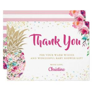 Tropical Pink Gold Pineapple Baby Shower Thank you Invitation