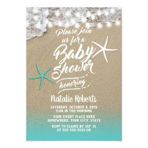 Tropical Summer Beach Starfish Baby Shower Invitation