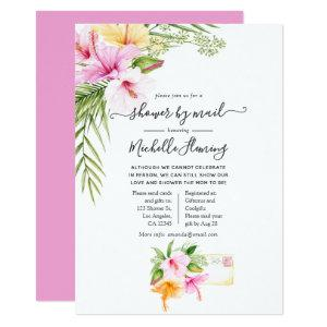 Tropical Summer Floral Baby Shower by Mail Invitation