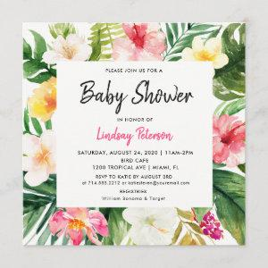 Tropical Watercolor Leaves Square Baby Shower Invitation