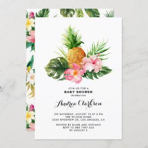 Tropical Watercolor Pineapple Floral Baby Shower