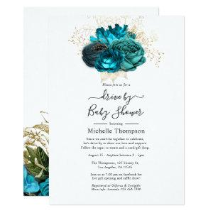 Turquoise & Gold Vintage Shabby Drive By Shower Invitation