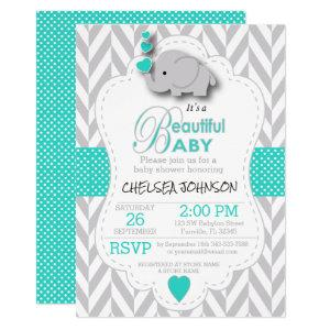 Turquoise, White Gray Elephant Baby Shower Invitation