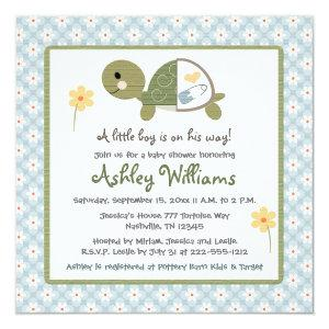Turtle Baby Shower Invites With Daisies For Boys