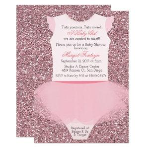 Tutu Ballerina Glitter Baby Shower Invitation