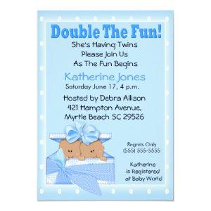 Twin African American Boys Baby Shower Invitations
