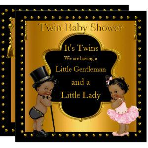 Twin Baby Shower Boy and Girl Ethnic Invitation