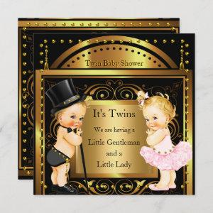 Twin Baby Shower Boy and Girl Gold Blonde Invitation