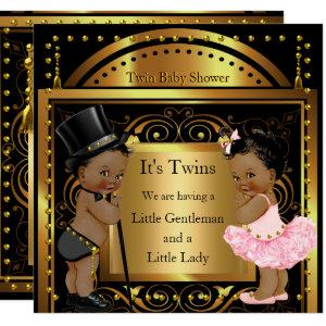Twin Baby Shower Boy and Girl Gold Ethnic Invitation