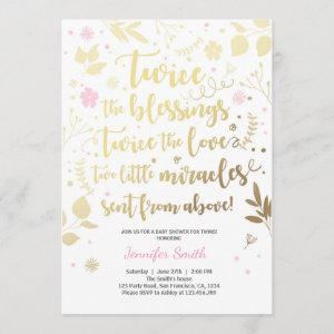 Twin Baby Shower Invitation Gold Pink Girl shower