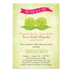 Twin Baby Shower Invitation Two Peas In A Pod Pink