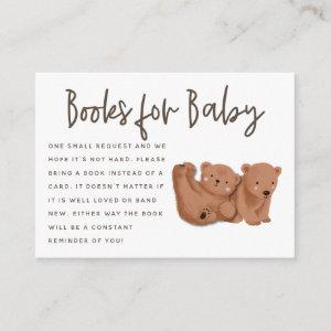 Twin Bears Theme Baby Shower Book Request Enclosure Card