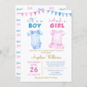 Twin Boy and Girl Pink Blue Baby Shower Invitation