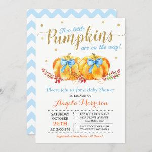Twin Boy Baby Shower Two Little Pumpkins Blue Invitation