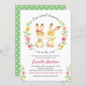 Twin Boy Girl Floral Colorful Bunny Baby Shower Invitation