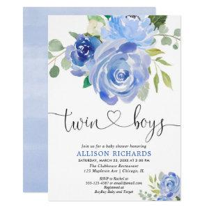 Twin boys baby shower navy green floral invitation