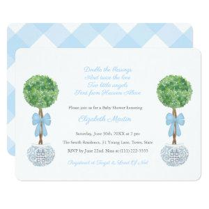Twin Boys Blue Checker Ginger Jar Baby Shower Invitation