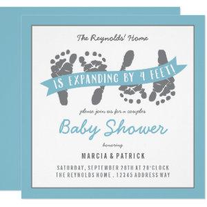 Twin Boys Couples Shower Blue and Gray Baby Shower Invitation
