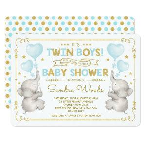 Twin Boys Elephant Baby Shower Blue Gold Jungle Invitation