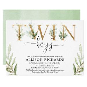 Twin boys greenery modern baby shower invitation