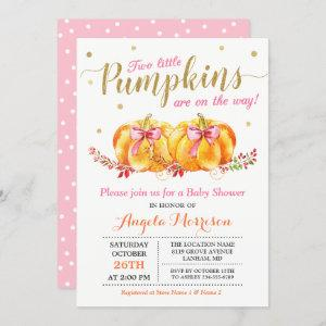 Twin Girl Baby Shower Cute Pink Little Pumpkin Invitation