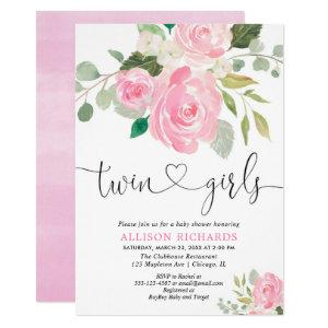 Twin girls baby shower blush pink green floral invitation