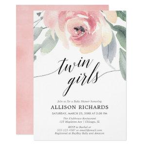 Twin girls blush pink elegant floral watercolor invitation