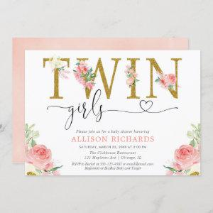 Twin girls blush pink gold floral baby shower