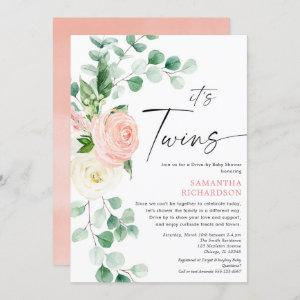 Twin Girls Drive by baby shower pink greenery Invitation