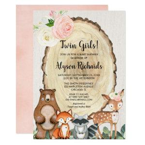 Twin girls forest friends woodland baby shower invitation