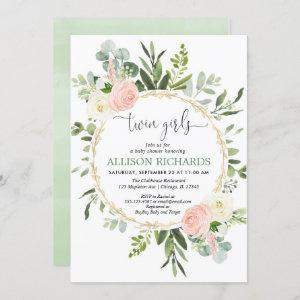Twin girls greenery pink gold floral baby shower