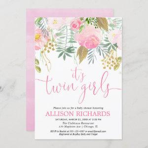 Twin girls pink gold greenery floral watercolor invitation