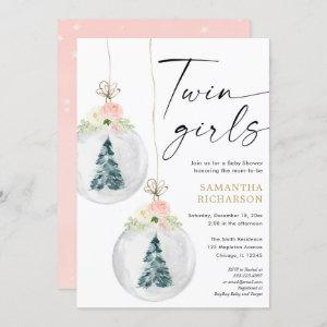 Twin Girls pink gold Winter Christmas baby shower