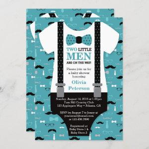 Twin Little Men Baby Shower Invitation, Teal Invitation