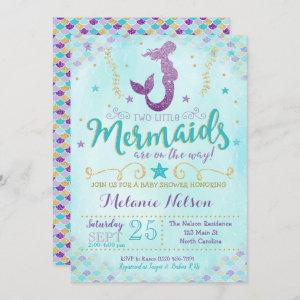 Twin Mermaid Baby Shower Invitation Sprinkle