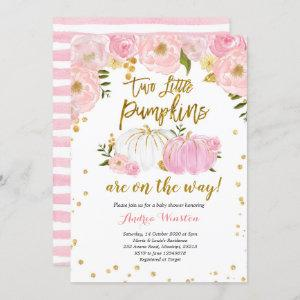 Twin Pink and Gold Pumpkin Baby Shower Invitation