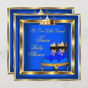 Twin Prince Baby Shower Royal Blue Gold Boy Crown Invitation
