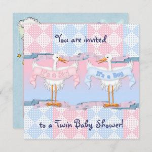 Twin Storks for Baby Shower