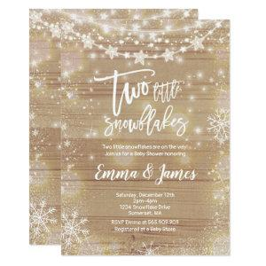 Twin Winter Baby Shower Invitation Rustic White