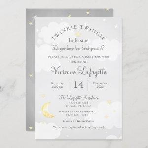 Twinkle Little Star and Moon Gray Baby Shower Invitation