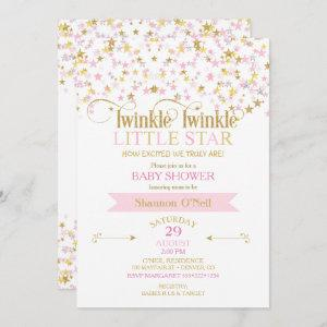 Twinkle Little Star Baby Shower Pink Gold Invitation