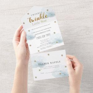 Twinkle Little Star Blue Diaper Baby Shower All In One Invitation