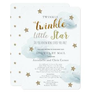 Twinkle Little Star & Cloud Baby Shower By Mail Invitation