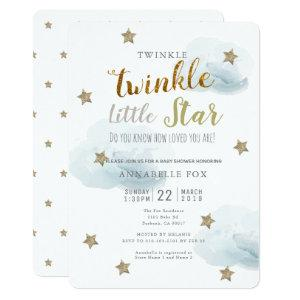 Twinkle Little Star & Cloud Baby Shower Invitation