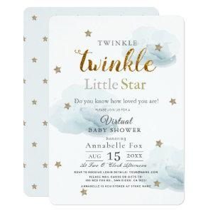 Twinkle Little Star Cloud Blue Virtual Baby Shower Invitation